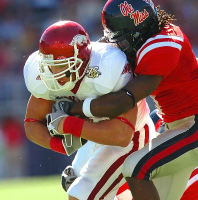 """White boys"" like former Arkansas running back Peyton Hillis aren't supposed to play in the SEC"