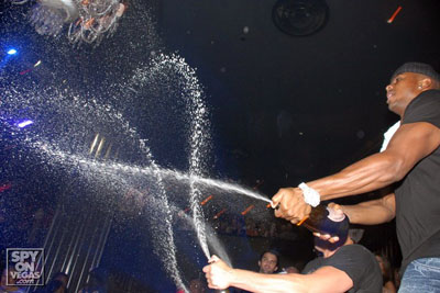 Walker spaying some bubbly at the Hard Rock (BroncoTalk)