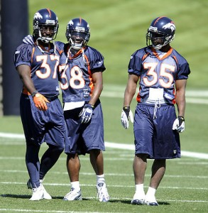 Running backs at practice