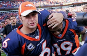 Jay Cutler and Eddie Royal Chargers post game