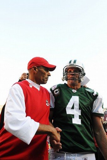 Herm Edwards and Brett Favre (Getty Images)
