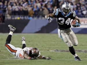 DeAngelo Williams leeave Ronde Barber eating turf on Monday Night Football.