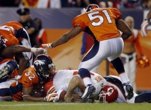 Dre Bly makes the crucial 4th down stop to keep the Broncos on top against Kansas City.