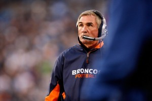Mike Shanahan looks on during the Broncos loss to the Panthers. (Getty Images)