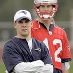 New England Patriots offensive coordinator Josh McDaniels and quarterback Tom Brady
