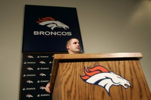 Josh McDaniels address the media as Denver Broncos Head Coach for the first time. (Reuters photo)