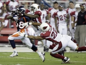 Anthony Alridge blasts by Domonique Rodgers-Cromartie. [AP Photo]