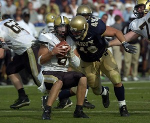 Jay Cutler being sacked by a Navy linebacker in 2004.