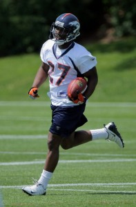 First round draft pick running back Knowshon Moreno of the Denver Broncos runs the ball in June.  (Doug Pensinger/Getty Images)