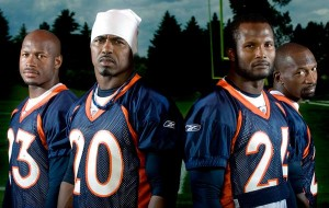 Renaldo Hill, 23, Brian Dawkins, 20, Champ Bailey, 24 and Andre Goodman, 21, represent a revamped Broncos defensive secondary.  Reza A. Marvashti, The Denver Post