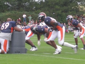 Tim Crowder has been seeing more time at outside linebacker.  (Kyle Mongomery/BroncoTalk)
