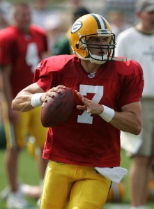 QB Ingle Martin practices with the Green Bay Packers in 2007.  Sorry, Ingle, that number is taken.  (Photo by Jonathan Daniel/Getty Images)