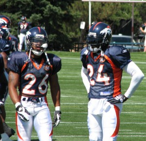 Jack Williams and Champ Bailey in Denver Broncos training camp on Saturday Aug 1, 2009.