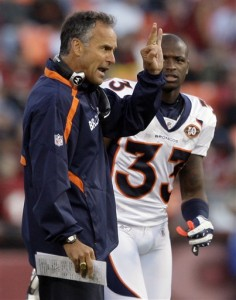Denver Broncos defensive coach and former 49er head coach, Mike Nolan shouts during the game against the San Francisco 49ers during their NFL preseason football game in San Francisco, Calif., Friday, Aug. 14, 2009. (AP Photo/Jeff Chiu)