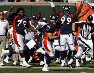 Brandon Stokley single handedly saved the Broncos in the season opener. (REUTERS/John Sommer II)