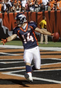 Denver Broncos receiver Brandon Stokley (14) celebrates in the end zone after scoring an 87-yard pass reception in the fourth quarter of an NFL football game against the Cincinnati Bengals, Sunday, Sept. 13, 2009, in Cincinnati. Denver won the game 12-7. (AP Photo/Al Behrman)