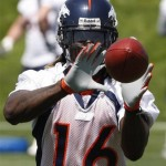 Denver Broncos wide receiver Chad Jackson pulls in a pass during camp. (AP Photo/Ed Andrieski)