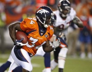 Denver Broncos running back Darius Walker (34) breaks into the secondary as he carries the ball during an NFL preseason football game against the Chicago Bears in Denver on Sunday, Aug. 30, 2009. The Bears won 27-17. (AP Photo/Jack Dempsey)