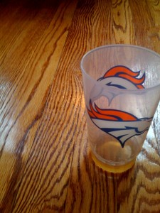 Recreation of lost Broncos cup(recreation made possible by the fact I have 5 more of the same cup, so no big deal if lost completely.)