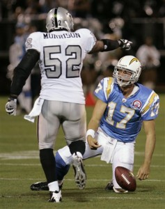 Oakland Raiders linebacker Kirk Morrison, left, gestures after San Diego Chargers quarterback Philip Rivers, right, was sacked during the first quarter of an NFL football game Monday, Sept. 14, 2009, in Oakland, Calif.(AP Photo/Paul Sakuma)