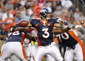 Denver Broncos quarterback Tom Brandstater (3) sets to throw a pass against the Arizona Cardinals during an NFL preseason football game in Denver on Thursday, Sept. 3, 2009. (AP Photo/ Ed Andrieski )