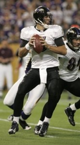 Baltimore Ravens quarterback Joe Flacco looks to pass against the Minnesota Vikings during the first half of an NFL football game, Sunday, Oct. 18, 2008, in Minneapolis. (AP Photo/Paul Battaglia)