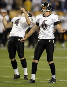Baltimore Ravens holder Sam Koch, left, reacts after Ravens' kicker Steve Hauschka, (6) missed a 44-yard field goal with two seconds left on the clock during the fourth quarter of an NFL football game Sunday, Oct. 18, 2009, in Minneapolis. Minnesota won 33-31. (AP Photo/Tom Olmscheid)