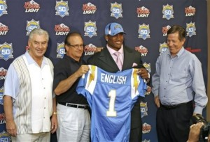 San Diego Chargers' first-round draft pick Larry English, second from right,  holds up his new jersey as, from left to right, general manager A.J. Smith, president-CEO Dean Spanos and head coach Norv Turner look on during a news conference Sunday, April 26, 2009, in San Diego. English, a linebacker, is from Northern Illinois. (AP Photo/Jack Smith)