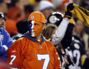 An unidentified fan of the Denver Broncos, front, in Denver in 2009. (AP Photo/David Zalubowski)