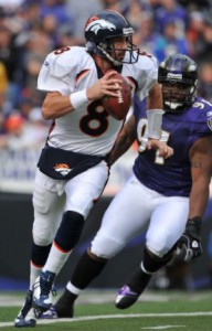 Kyle Orton #8 of the Denver Broncos looks for a receiver during the game against the Baltimore Ravens at M&T Bank Stadium on November 1, 2009 in Baltimore, Maryland. (Photo by Larry French/Getty Images)