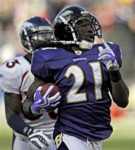 Baltimore Ravens cornerback Lardarius Webb (21) reacts as he carries the ball into the end zone for a touchdown in the third quarter of the NFL football game against the Denver Broncos, Sunday, Nov. 1, 2009, in Baltimore. (AP Photo/Nick Wass)