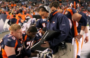 Former offensive line coach Rick Dennison (R) of the Denver Broncos talks with offensive guard Chris Kuper #73 of the Broncos as they face the San Diego Chargers during NFL action at Invesco Field at Mile High on November 22, 2009 in Denver, Colorado.  (Doug Pensinger/Getty Images)