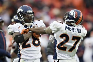 Correll Buckhalter #28 and Knowshon Moreno #28 of the Denver Broncos celebrate after a touchdown against the Kansas City Chiefs on December 6, 2009 in Kansas City, Missouri.  The Broncos defeated the Chiefs 44-13.  (Wesley Hitt/Getty Images)