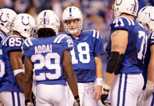 Peyton Manning #18 of the Indianapolis Colts is pictured during the NFL game against the Tennessee Titans at Lucas Oil Stadium on December 6, 2009 in Indianapolis, Indiana.  (Andy Lyons/Getty Images)