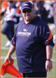 In his first season with the Broncos, linebackers coach Don Martindale helped Denver's defense to 39 sacks, 17 interceptions and 17 forced fumbles. (Zach Eisendrath/DenverBroncos.com)