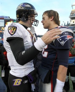 Baltimore Ravens quarterback Joe Flacco (L) and quarterback Tom Brady (R) of the New England Patriots talk about their NFL AFC wild-card playoff football game in Foxborough, Massachusetts January 10, 2010. The Ravens won the game 33-14. (REUTERS/Adam Hunger)