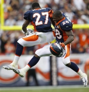 Knowshon Moreno celebrates with Correll Buckhalter follwing a fourth quarter touchdown vs. Cleveland in September. (AP Photo/Jack Dempsey )