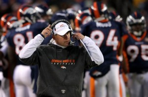Josh McDaniels leads his depeleted team against the Kansas City Chiefs. (Photo by Doug Pensinger/Getty Images)