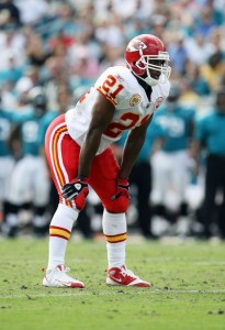 Kolby Smith then of the Kansas City Chiefs is set during a game in 2008. (Photo by Doug Benc/Getty Images)