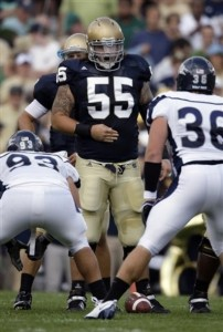 Eric Olsen (Notre Dame) lines up against Nevada. (AP Photo/Michael Conroy)