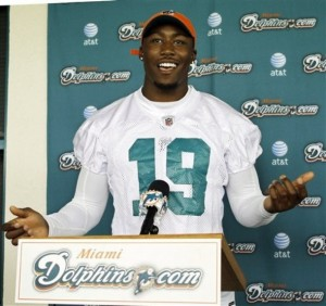 Miami Dolphins wide receiver Brandon Marshall talks to the media after football mini-camp in Davie, Fla., Wednesday, May 19, 2010.  (AP Photo/J Pat Carter)