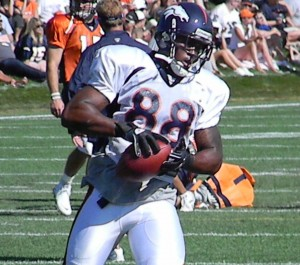 Denver Broncos rookie wide receiver Demaryius Thomas catches the football during training camp on Friday, August 6, 2010. (BroncoTalk.net)