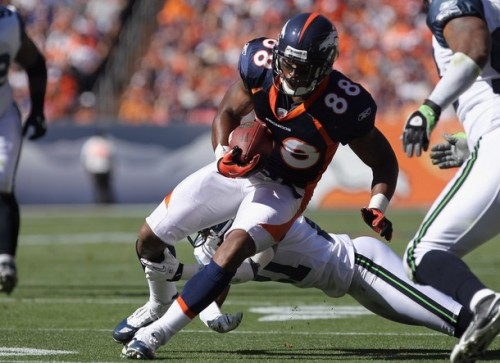 Wide receiver Demaryius Thomas #88 of the Denver Broncos makes a reception as cornerback Kelly Jennings #21 of the Seattle Seahawks tries to make the tackle at INVESCO Field at Mile High on September 19, 2010 in Denver, Colorado. The Broncos defeated the Seahawks 31-14.  (Doug Pensinger/Getty Images)