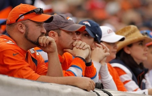 Fans of the Denver Broncos look on during the second quarter against the Oakland Raiders at INVESCO Field at Mile High on October 24, 2010 in Denver, Colorado. (Justin Edmonds/Getty Images)