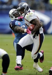 Denver Broncos wide receiver Eddie Royal (19) pushes Tennessee Titans linebacker Stephen Tulloch (55) out of the way in the third quarter of an NFL football game on Sunday, Oct. 3, 2010, in Nashville, Tenn. (AP Photo/Joe Howell)
