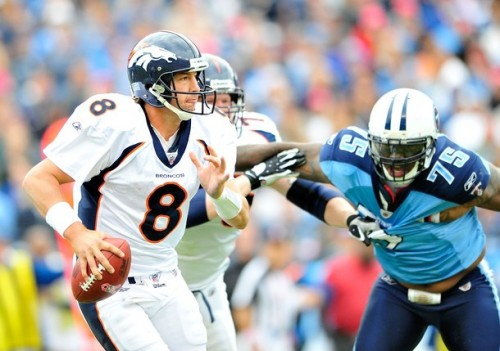 Quarterback Kyle Orton #8 of the Denver Broncos looks to pass against the Tennessee Titans  at LP Field on October 3, 2010 in Nashville, Tennessee. Denver won 26-20.  (Grant Halverson/Getty Images)