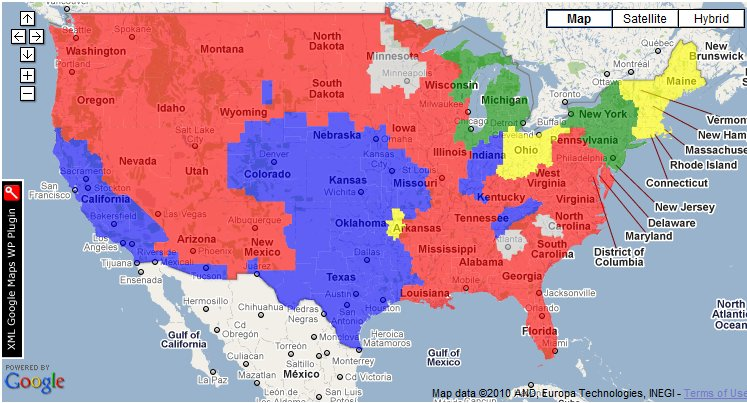 TV Map Showing the CBS Week 9 Early Games.  Credit:  the506.com
