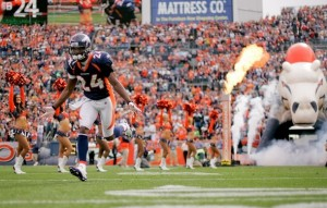 Champ Bailey runs onto the field before taking on the Oakland Raiders. (Photo by Justin Edmonds/Getty Images)