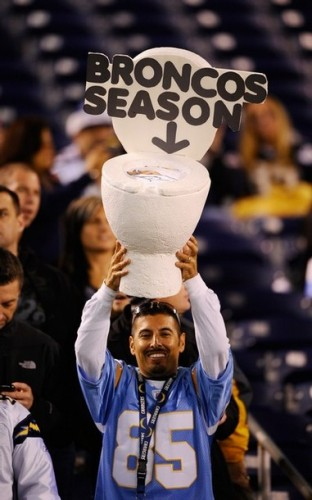 A Chargers fan reacts during the game against the Broncos. (Photo by Kevork Djansezian/Getty Images)
