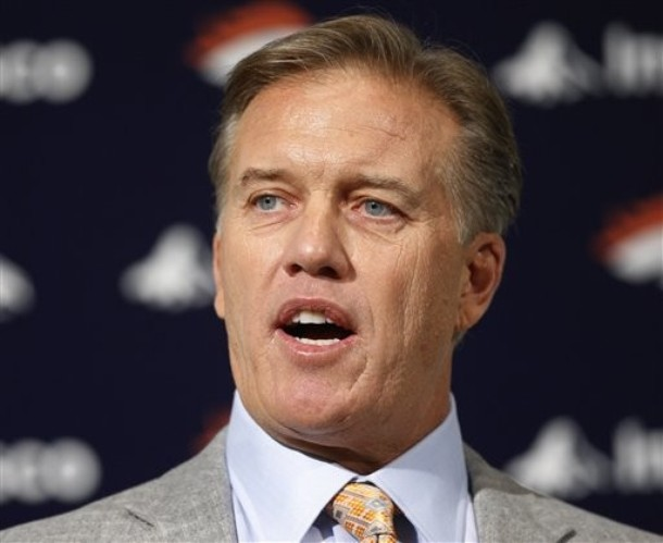 John Elway at his Press Conference shortly after being named Executive Vice President of Football Operations.  (AP Photo/ Ed Andrieski)
